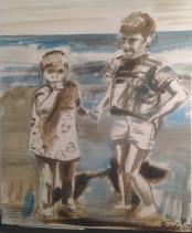 Broer en zus aan het strand, 2007